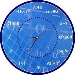 Купить Часы настенные для кабинета математики в синих тонах 390*390 мм в Беларуси от 20.50 BYN
