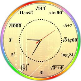 Купить Часы настенные для кабинета математики в стиле Радуга 390*390 мм в Беларуси от 20.50 BYN