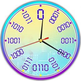 Купить Часы настенные кварцевые для кабинета информатики в фиолетово-голубых тонах 250*250 мм в Беларуси от 15.50 BYN