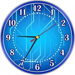 Купить Часы настенные кварцевые для кабинета информатики в синих тонах 250*250 мм в Беларуси от 16.00 BYN