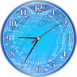 Купить Часы настенные кварцевые для кабинета информатики в синих тонах  250*250 мм в Беларуси от 15.50 BYN