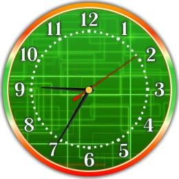 Купить Часы настенные кварцевые для кабинета информатики в зелёных тонах  250*250 мм в Беларуси от 15.50 BYN