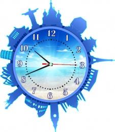 Купить Часы настенные кварцевые Достопримечательности мира в голубых тонах 420*480 мм в Беларуси от 23.50 BYN