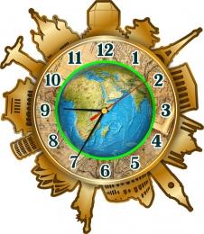 Купить Часы настенные кварцевые Достопримечательности мира в кабинет географии 330*380 мм в Беларуси от 17.50 BYN
