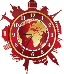 Купить Часы настенные кварцевые Достопримечательности мира в золотисто-бордовых тонах 330*370 мм в Беларуси от 17.50 BYN