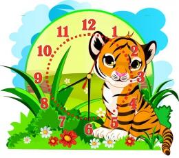 Купить Часы настенные кварцевые Джунгли с Тигренком 400*350 мм в Беларуси от 18.50 BYN