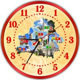 Купить Часы настенные кварцевые с картой Беларуси  250*250 мм в Беларуси от 15.50 BYN