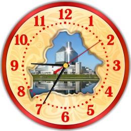 Купить Часы настенные кварцевые с картой Беларуси с изображением Национальной библиотеки 250*250мм в Беларуси от 15.50 BYN