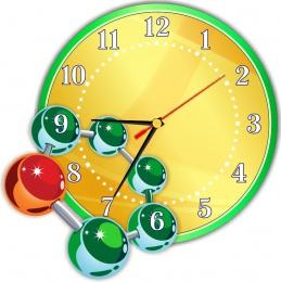 Купить Часы настенные кварцевые в кабинет химии в золотисто-зеленых тонах 290*290мм в Беларуси от 16.50 BYN
