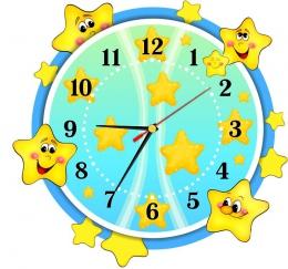 Купить Часы настенные кварцевые в стиле группы Звёздочка в жёлто-голубых тонах 340*320 мм в Беларуси от 17.50 BYN