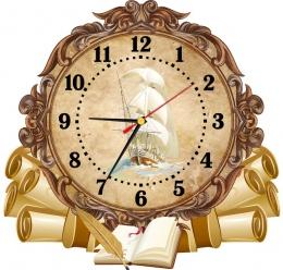 Купить Часы настенные кварцевые  в стиле Свиток с кораблём 360*340 мм в Беларуси от 17.50 BYN