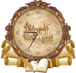 Купить Часы настенные кварцевые  в стиле Свиток в кабинет истории 360*340 мм в Беларуси от 17.50 BYN