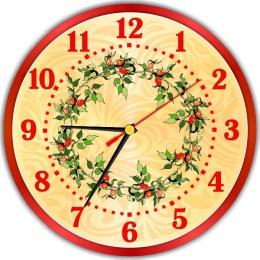 Купить Часы настенные кварцевые в Винтажном стиле в золотисто-красных тонах 250*250 мм в Беларуси от 15.50 BYN