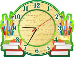 Купить Часы настенные кварцевые в зеленых тонах на школьную тематику 320*240 мм в Беларуси от 15.50 BYN