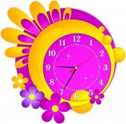 Купить Часы настенные кварцевые в жёлто-сиреневых тонах 430*420 мм в Беларуси от 21.50 BYN