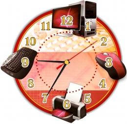Купить Часы в кабинет информатики с тематическими изображениями 280*270 мм в Беларуси от 16.50 BYN