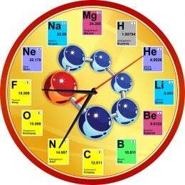 Купить Часы в кабинет Химии на русском языке с элементами периодической системы 250*250мм в Беларуси от 15.50 BYN