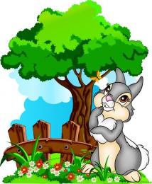 Купить Фигурный двухсторонний элемент Зайка на лужайке с деревом для оформления детской площадки или группы 580х700 в Беларуси от 67.00 BYN