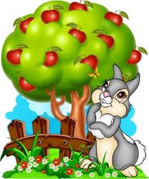 Купить Фигурный двухсторонний элемент Зайка на лужайке с яблоней для оформления детской площадки или группы 840х1000 в Беларуси от 138.00 BYN