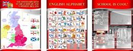 Купить Комплект из 3-х стендов  для кабинета английского языка в красно-серых тонах в стиле Лондон 1950*750 мм в Беларуси от 165.00 BYN
