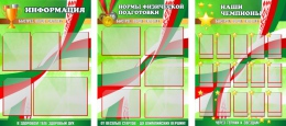 Купить Комплект из 3-х стендов по физкультуре Информация, Нормы физической подготовки, Наши Чемпионы  2200*1000мм в Беларуси от 289.00 BYN