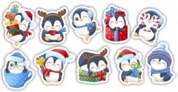 Купить Комплект новогодних наклеек Пингвины 380*245 мм в Беларуси от 5.40 BYN