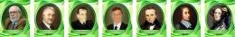 Купить Комплект портретов для кабинета информатики в золотисто-зелёных тонах 260*330 мм в Беларуси от 68.00 BYN