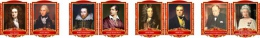 Купить Комплект портретов портретов Знаменитые Британцы для кабинета английского языка жёлто-красные  260*350 мм в Беларуси от 88.00 BYN
