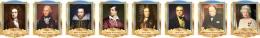 Купить Комплект портретов портретов Знаменитые Британцы  в золотисто-голубых тонах 260*350 мм в Беларуси от 88.00 BYN