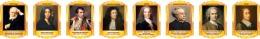 Купить Комплект портретов Знаменитые французские деятели в жёлто-оранжевых тонах 260*350 мм в Беларуси от 88.00 BYN