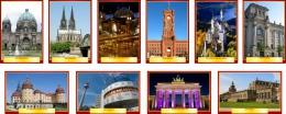 Купить Комплект стендов Достопримечательности Германии для кабинета немецкого языка в золотисто-бордовых тонах  215*310 мм, 310*210 мм в Беларуси от 71.00 BYN