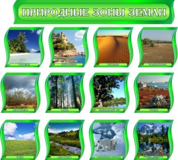 Купить Комплект стендов Природные зоны Земли для кабинета географии в зеленых тонах с шапкой 300*300 мм в Беларуси от 157.00 BYN