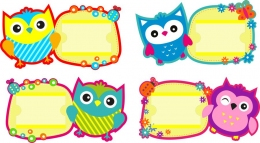 Купить Комплект табличек на шкафчики Совушки с карманами для имен детей в Беларуси от 48.00 BYN