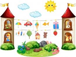 Купить Композиция для детских рисунков Наше творчество в группу Сказка 2290*1730 мм в Беларуси от 255.00 BYN
