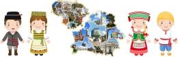 Купить Композиция Карта Беларуси и Литвы и дети в национальных костюмах 3180*1030 мм в Беларуси от 298.00 BYN