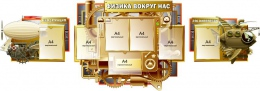 Купить Композиция стендов в кабинет физики Удивительная Физика вокруг нас в стиле стимпанк 2700*900 мм в Беларуси от 207.50 BYN