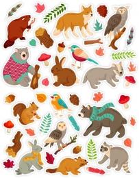 Купить Набор декоративных наклеек Осень в лесу со зверятами 630х265мм в Беларуси от 8.00 BYN