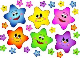 Купить Набор декоративных наклеек Звездочки разноцветные 61*59 мм и 210*210 мм в Беларуси от 15.00 BYN