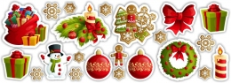 Купить Набор Новогодних наклеек  670*290мм в Беларуси от 9.00 BYN