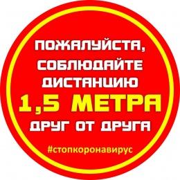 Купить Наклейка 1 Соблюдайте дистанцию 250*250 мм в Беларуси от 3.00 BYN