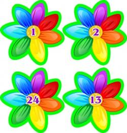 Купить Наклейки для группы Семицветик с нумерацией 66*66мм 24шт. в Беларуси от 6.00 BYN