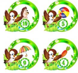 Купить Наклейки группа Птенчики с цифрами 30 шт. размер 59*53 мм в Беларуси от 5.00 BYN