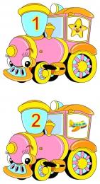 Купить Наклейки Паровозик розовые с цифрами 35шт.  размер 50*50мм в Беларуси от 7.00 BYN