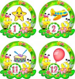 Купить Наклейки Пчелки с цифрами 30шт. размер 60*62 мм в Беларуси от 7.00 BYN