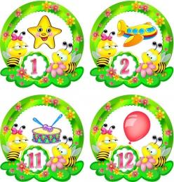 Купить Наклейки Пчелки с цифрами 30шт.,размер 73х76 мм в Беларуси от 9.00 BYN