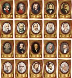 Купить Портреты Великих композиторов в золотистых тонах 20 шт 330*470мм в Беларуси от 338.00 BYN