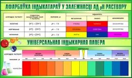 Купить Стенд афарбоўка індыкатараў у залежнасці ад рн раствору 1020*600 мм в Беларуси от 70.00 BYN