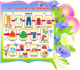Купить Стенд Алгоритм одевания группа Васильки 380*340 мм в Беларуси от 16.00 BYN