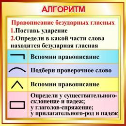 Купить Стенд Алгоритм правописания безударных гласных в золотистых тонах 550*550мм в Беларуси от 33.00 BYN