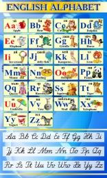 Купить Стенд Английский Алфавит с картинками с синих тонах с прописными буквами 850*500 мм в Беларуси от 49.00 BYN